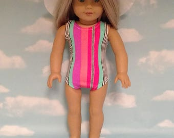 18 inch Girl Doll Clothing, handmade to fit like American Girl Doll clothes Swimsuit Set (Bathing Suit and Hat) sw752b