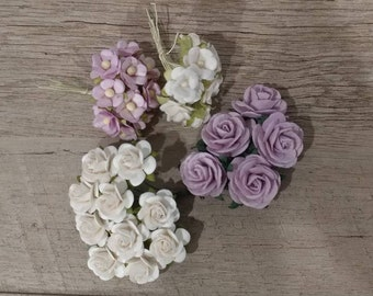 4 Bunches Tiny Paper Flowers