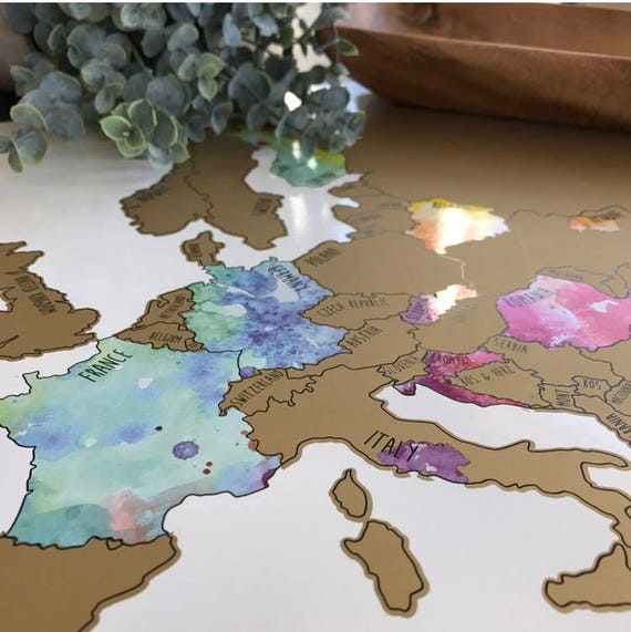 Holiday Sale - Europe Watercolor Scratch Off Map