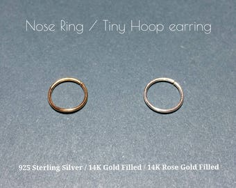 Tiny Hoop Earring/Nose Ring/Nose Hoop/Gold Filled/Sterling Silver/Rose Gold Fill/Septum Ring/Tragus earring/cartilage earring/nose piercing