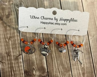 Football Wine Charms, Browns Wine Charms, Cleveland Browns, Football, Cleveland, Party Favor, Cleveland Sports Fan, Browns, Ohio, Wine Lover