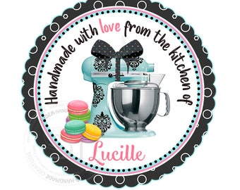 "Personalized Kitchen Tags -Mixer-Macaroons-Printable 2.5"" Tags-From the kitchen of Customized Tags, DIY (You Print) 2.5"" tags-Digital file"