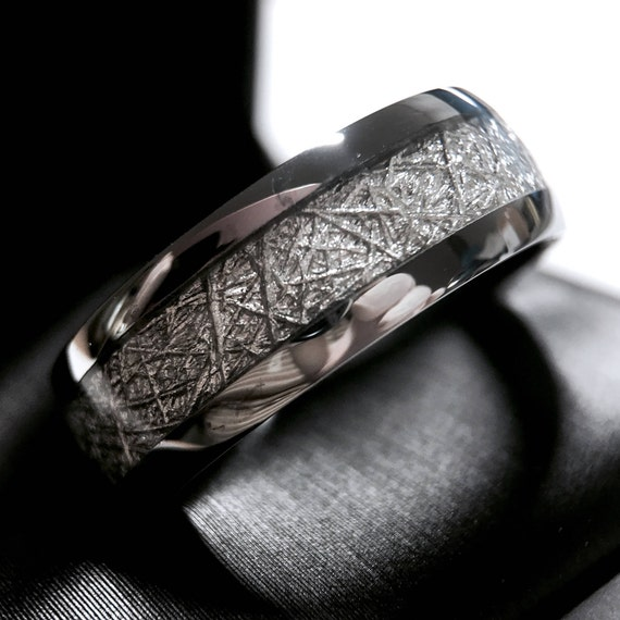 meteorite titanium mens s men ring buzz meteor rings wedding gibeon