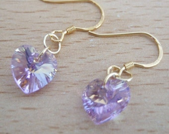 Lovely Vermeil, Gold Plated Sterling Silver, Swarovski Elements Lilac Heart Earrings