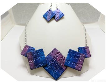 Set of jewelry, polymer clay in shades of Blue rose ref 957