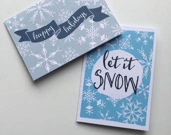 Snowflake Greeting Cards, Holiday Greeting Cards, Let It Snow Card, Let It Snow, Happy Holidays Card, Snowflake Pattern, Blank Greeting Card