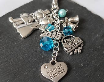 Maid of Honour gift - bridesmaid gift - gift for maid of honour - bridal party gift - Maid of honour bag charm - Maid of Honour thank you