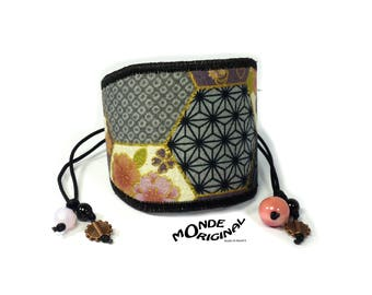 Japanese fabric and faux leather Cuff Bracelet