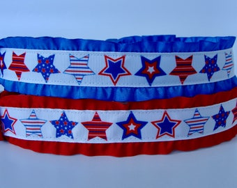 Patriotic Stars Ruffle Dog Collar - READY TO SHIP!