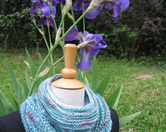 """Round neck, shoulder warmer knitted """"of turquoise in my garden"""""""