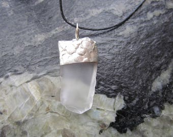 Clear sea glass pendant - P66