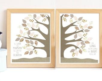 Brown Nursery Art, Neutral Nursery, Gender Neutral Nursery, Tree Nursery, Nature Nursery Decor, Nature Nursery Art, Tree Leaves Nursery