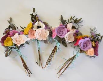Dried + Felt Flower Bouquet - Alternative Flowers - Dried Eucalyptus + Felt Floral Arrangement