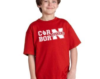 Nebraska Cornhuskers CornBorn Varsity Huskers Youth Boys Tee Shirt Officially Licensed Husker Gear