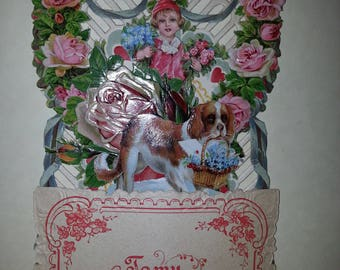 Antique German Die Cut Valentine 3-D