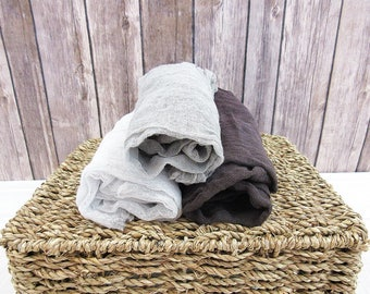 Set of 3 Newborn Cheesecloth Wraps, Shades of Grey Baby Wraps