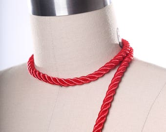 Red Satin Rope Trim. Red Silky Rope Tape/ Satin Rope Tape/ Red Satin Cord Trim/ Rope for Curtains/ Candy Red