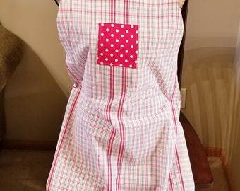 Red & White Plaid Tea Towel Apron, Adjustable Strap Apron, Full Apron, Polka Dot, Ruffle,  Ready to Ship, MarjorieMae