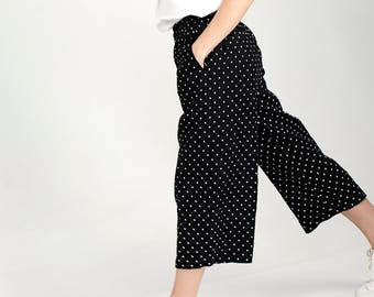 Loose Linen Pants / Black Loose Trousers / Casual Loose Pants / Linen Pants for Women / Wide Leg Linen Pants / Cropped Pants