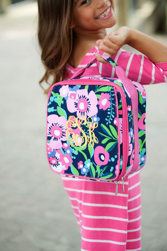 Monogrammed Kids Lunch Bag Personalized Insulated Lunchbox Back To School Pink Floral Lunch Tote Multicolor Floral Print Highway12Designs