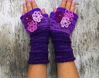 Knit fingerless with crochet flowers Women purple mittens Violet lilac rose arm warmer Warm winter gloves Winter bright accessory
