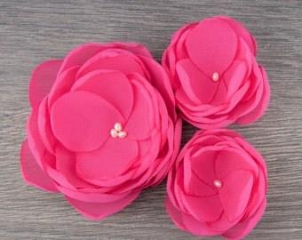 Cerise Pink Wedding - Cerise Hair Clip - Magenta Hair Flower - Cerise Bridesmaids - Pink Flower Girls - Pink Hair Clip - Cerise Pink Brooch