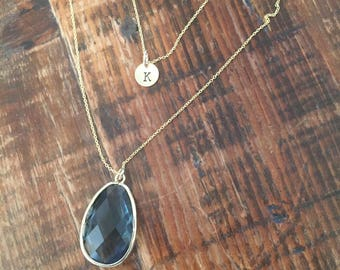 Charcoal Glass Pendant Necklace. Glass Stone. Pendant Necklace. Layering Necklace