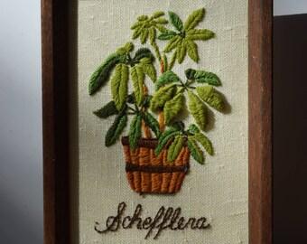 Hand Embroidered Plant Schefflera 70s Vintage