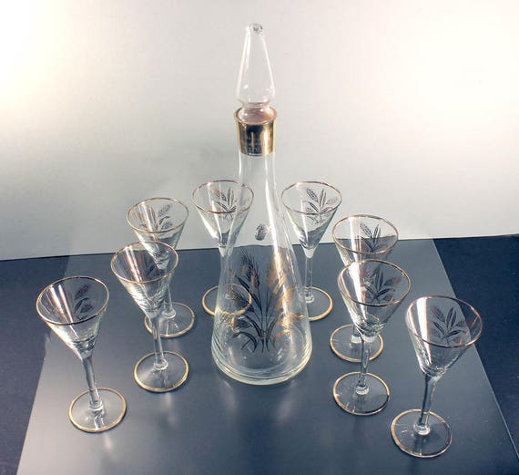 Decanter and Eight Glasses, West Virginia Glass, Gold Wheat Pattern, Clear Glass, Tall, Cocktail Glasses, Cordial Glasses