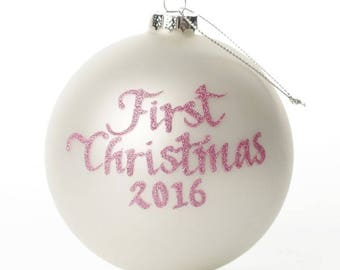 First Christmas Girl Personalised Christmas Bauble