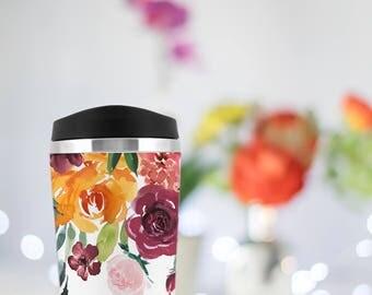 Personalized bridesmaid gift, custom travel mug, Marsala Blush Wedding, wedding thank you, teacher gift, coffee mug, Bridesmaid proposal