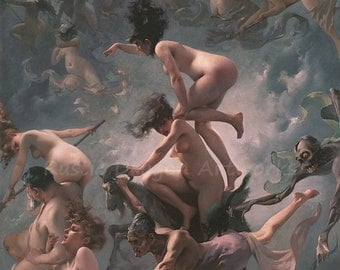 """Luis Ricardo Falero """"Witches Going To Their Sabbath"""" 1878  Reproduction Digital Print Home Decor Wall Hanging"""