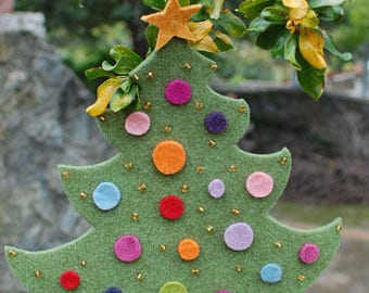 Christmas Tree  home decoration •  Ornaments • Felt Christmas decorations - Hand Made • Made to Order •