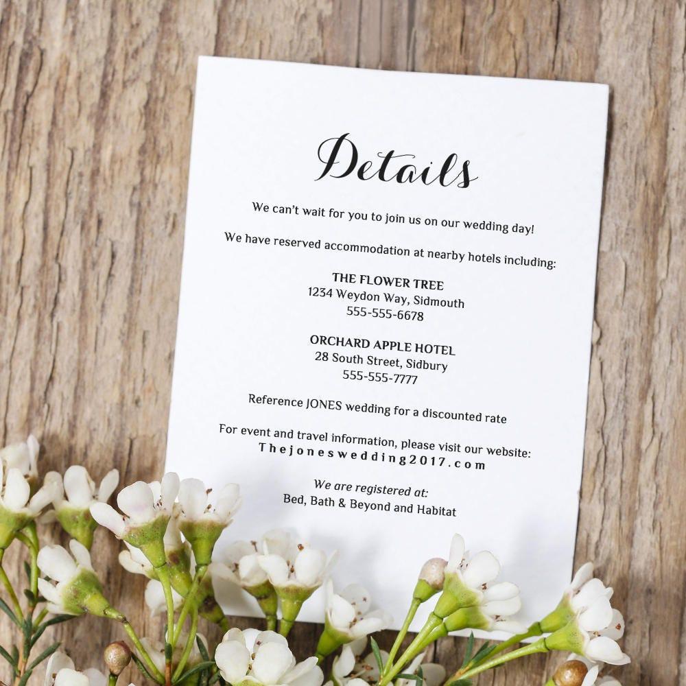 printable wedding information details template info card