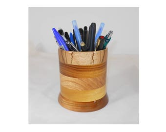 Wood Pencil Holder, Wooden Pen Cup, Office Desk Organizer (#146)