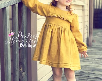 Vintage Style Dress | Fall Dress | Baby Girl Dress | Fall Top | Vintage Style Top | Pin-tuck Skirt Dress | Winter Dress | Girls Dress | Top