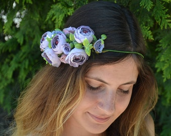 Wedding crown Wedding flower crown Dusty Purple flower headband Wedding flower halo Wedding flower headpiece Rustic wedding halo Bridal halo