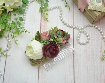 Blush burgundy hair comb/ Wedding comb/ Flower hair comb/ Bridal shower/ Burgundy flower comb/ Woodland wedding/ Bridal headpiece/ Boho comb