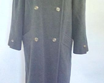 Vintage 80s coat Goldix Modell grey wool coat double breasted size large medium