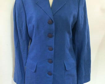 Vintage Irish Linen jacket 90s Paul Costelloe Dressage Made in Ireland Blue blazer jacket size small UK 8-10