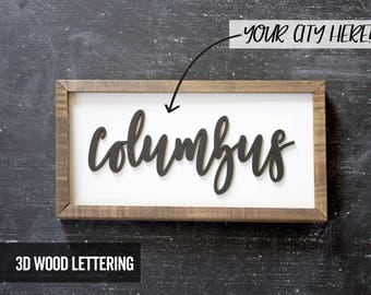 City Sign - Custom - LARGE - Wood Sign - Customized - Wooden Sign - Wood State Sign - Farmhouse - Rustic - Suburbs Sign - Ohio Sign -