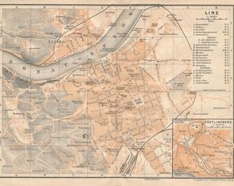 1905 Linz Austria Antique Map