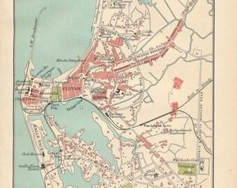 1905 Colombo Sri Lanka Antique Map