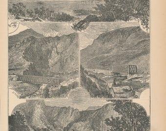 1881 Weber Canyon Utah Antique Print