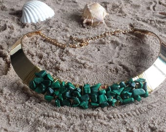 semi precious malachite/necklace/necklace green necklace Choker