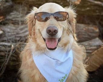 Blue Seersucker Pet Bandana || Light Blue White Seersucker || Southern Classic || Tie Dog Pupdana || Puppy Gift || Three