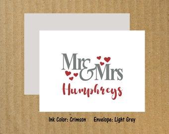 Mr Mrs Wedding Cards, Set of 25, Bridal Shower Thank You Cards, Mr and Mrs Note Cards, Wedding Thank You Cards, Thank You Cards, Wedding