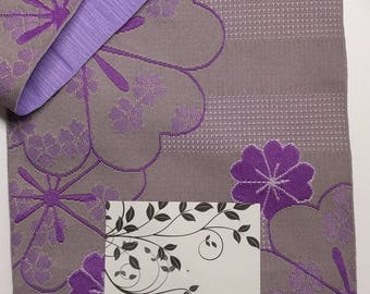 New lilac purple and gray sakura cherry blossom Hanhaba yukata obi belt