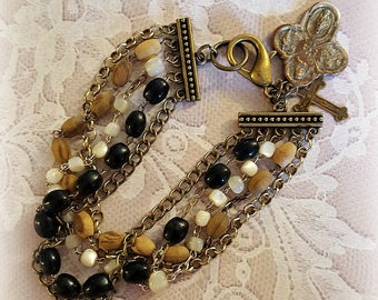 Assemblage Bracelet, Vintage Rosary Beads, Brass Assemblage Jewelry, Religious Faith Jewelry, Four Way Medal, Repurposed Upcycled Jewelry