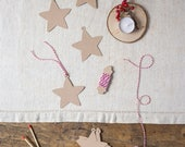 10 Kraft paper tags and baker's twine - Star-shape tags - 10 per package